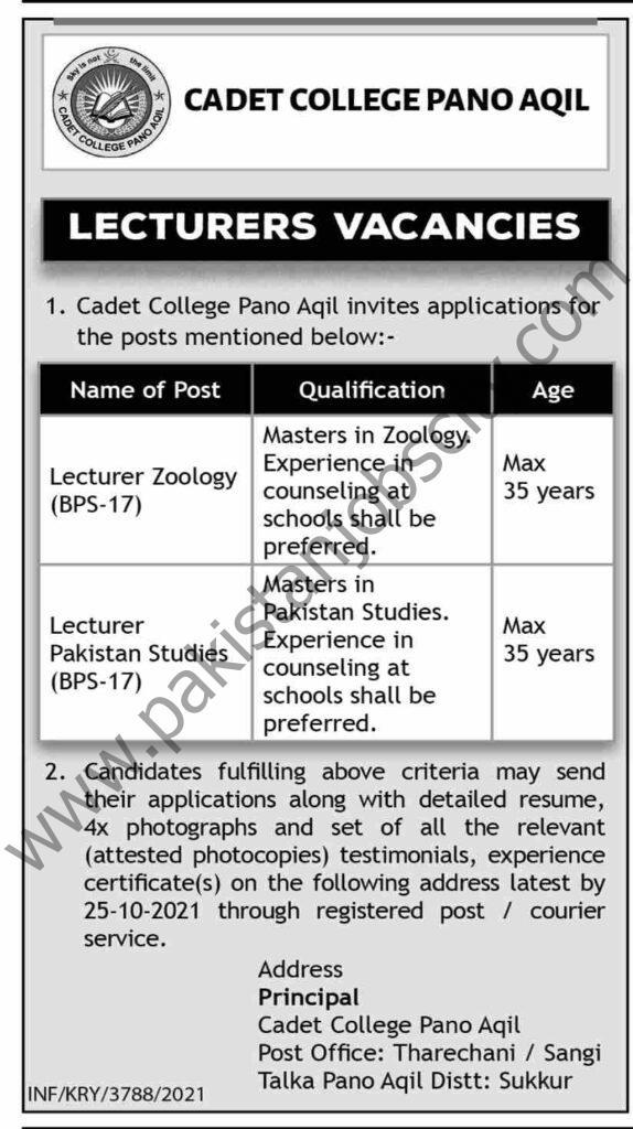 Cadet College Pano Aqil Jobs 10 October 2021 Dawn 01